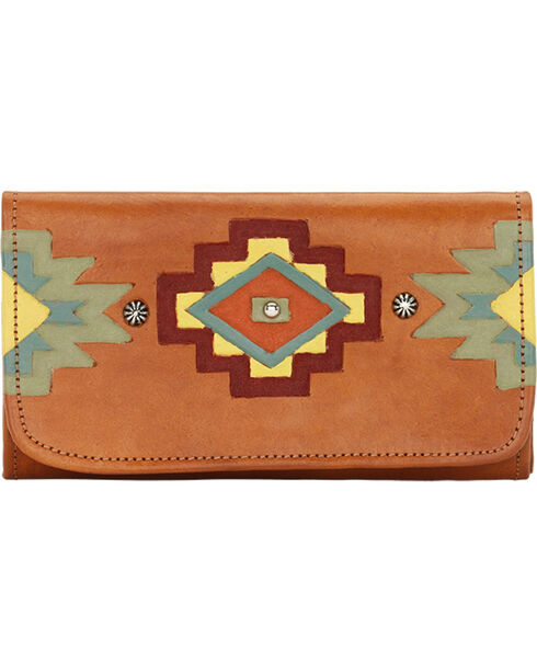 American West Women's Adobe Allure Tri-Fold Wallet, Tan, hi-res