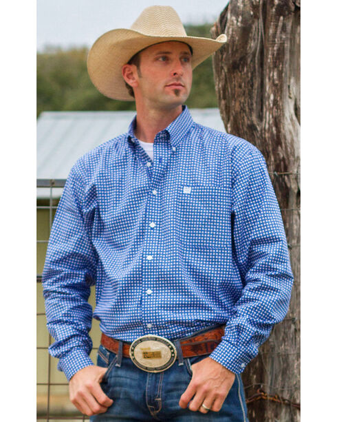 Cinch Men's Plaid Print Long Sleeve Shirt, Royal, hi-res