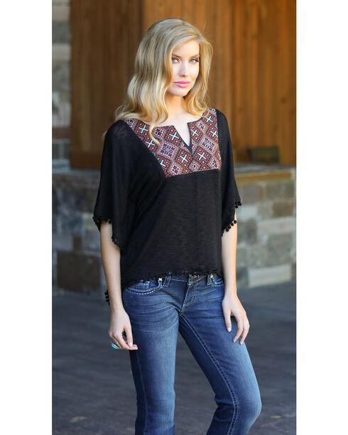 Rock 47 by Wrangler Women's Flutter Sleeve Knitted Top, Black, hi-res