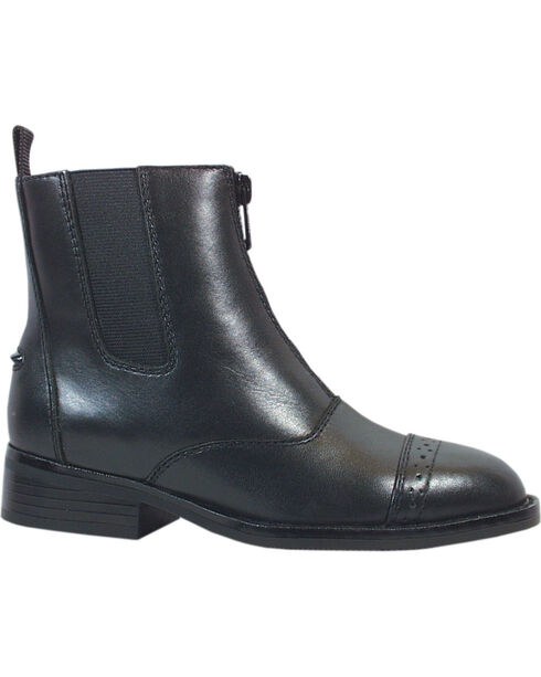 Smoky Mountain Childrens' Zipper Leather Paddock Boots, Black, hi-res