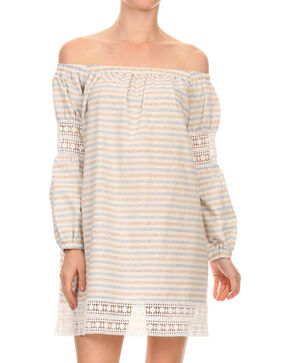 Freeway Apparel Women's Off The Shoulder Stripe Dress , Multi, hi-res