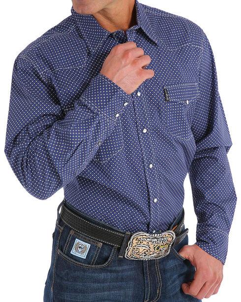 Cinch Men's Modern Fit Navy Print Long Sleeve Western Shirt, Navy, hi-res