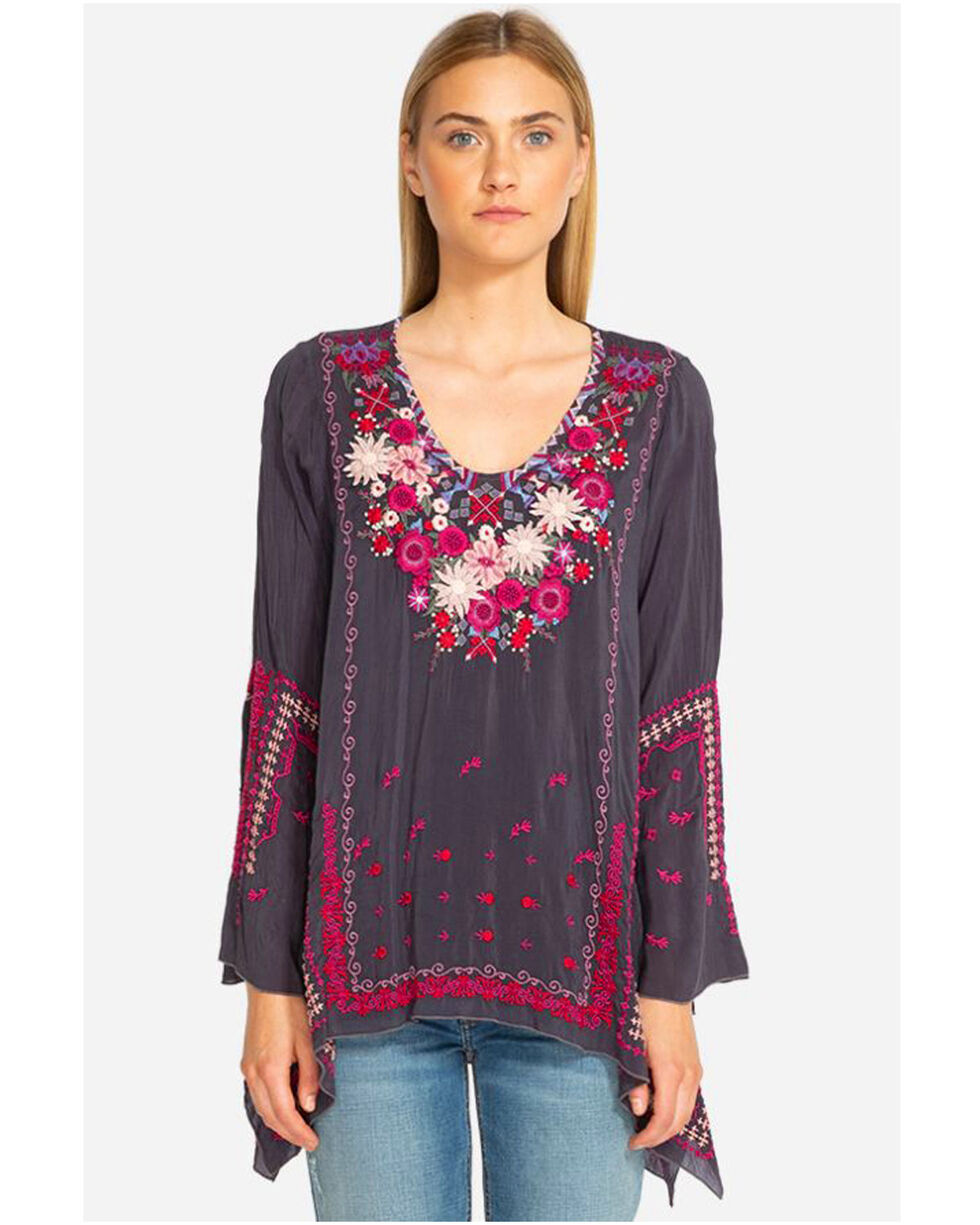 Johnny Was Women's Wish Stitch Long Sleeve Tunic, Charcoal, hi-res