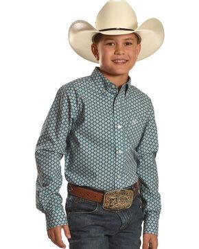 Ariat Boys' Pattern Long Sleeve Shirt, Blue, hi-res
