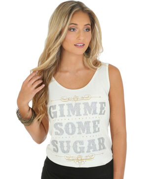 "Wrangler Rock 47 Women's ""Gimme Some Sugar"" Tank Top, Cream, hi-res"