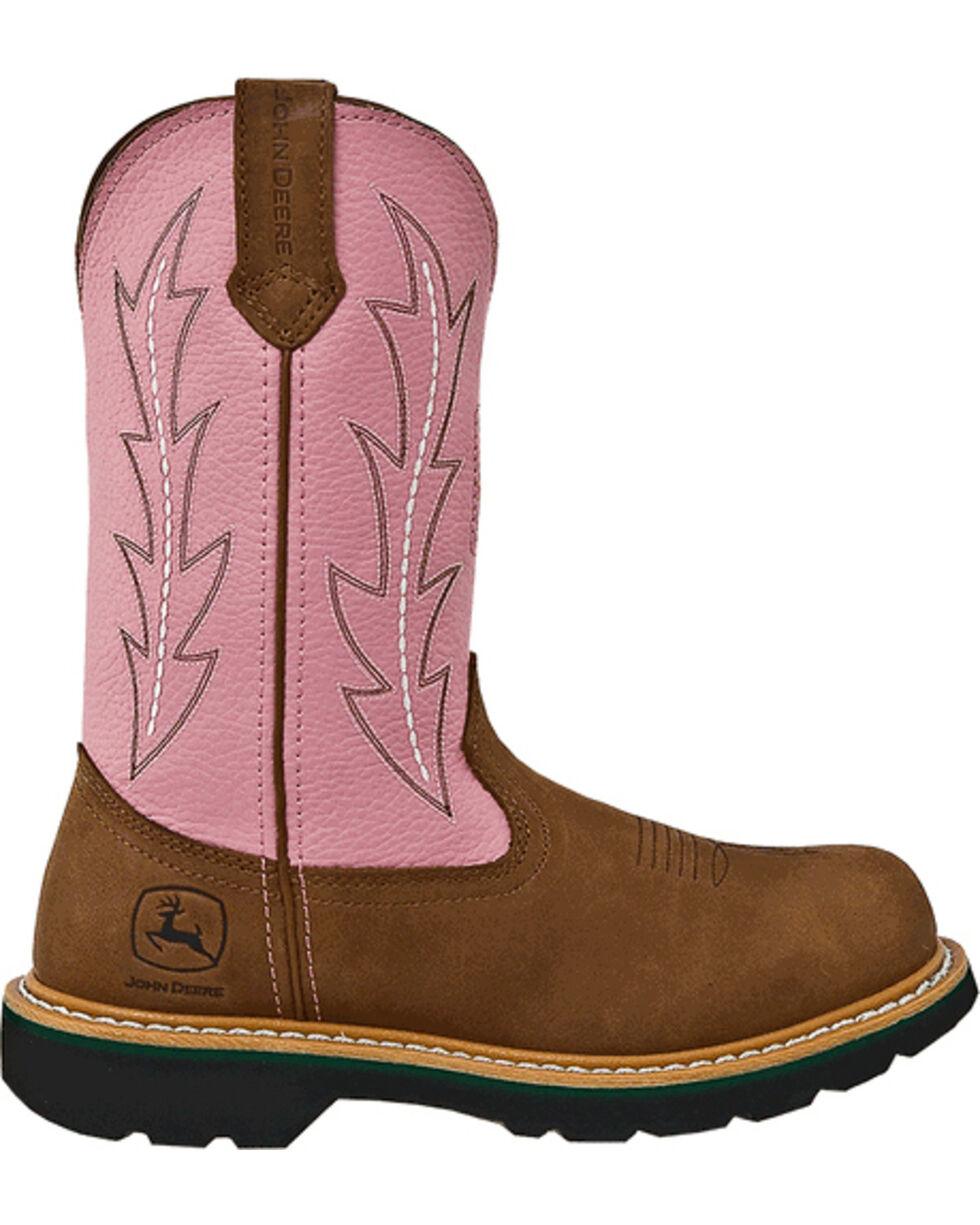John Deere Women's Crazyhorse Pink Cowgirl Boots - Round Toe, Tan, hi-res