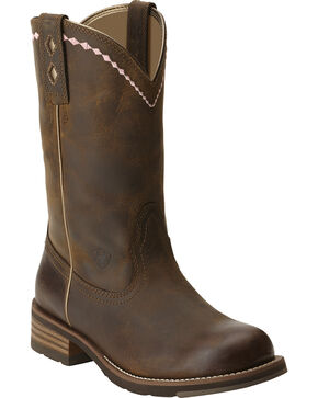 Ariat Women's Unbridled Roper Western Boots, Dark Brown, hi-res