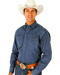 Roper Denim Blue Twill Western Shirt - Big and Tall, , hi-res