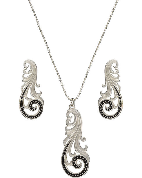 Montana Silversmiths Western Lace Whisper Necklace and Earrings Set, Silver, hi-res