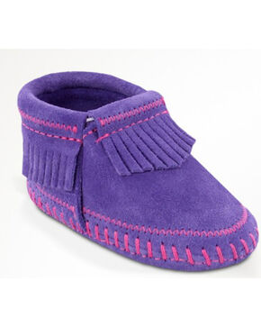 Minnetonka Infant Girl's Riley Moccasin Booties, Purple, hi-res