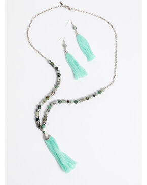 Shyanne Women's Jade Sea Beaded Tassel Jewelry Set, Silver, hi-res