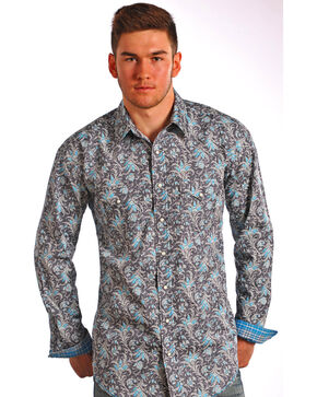 Rough Stock by Panhandle Men's Floral Long Sleeve Shirt, Dark Grey, hi-res