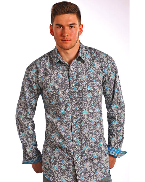 Rough Stock by Panhandle Men's Floral Long Sleeve Shirt, Dark Grey, hi-res