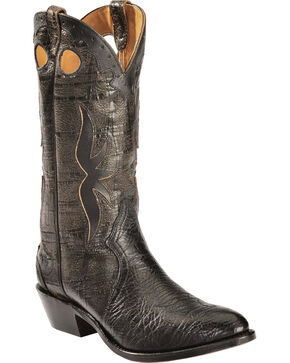 "Boulet Men's 13"" Inlay Fashion Cowboy Boots, Black, hi-res"