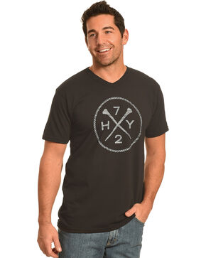 Hooey Men's Black HY72 V-Neck T-Shirt , Black, hi-res