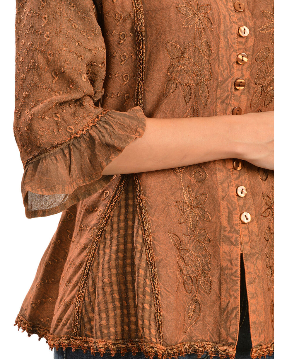 Scully Women's Tonal Embroidered - Length Blouse, Copper, hi-res