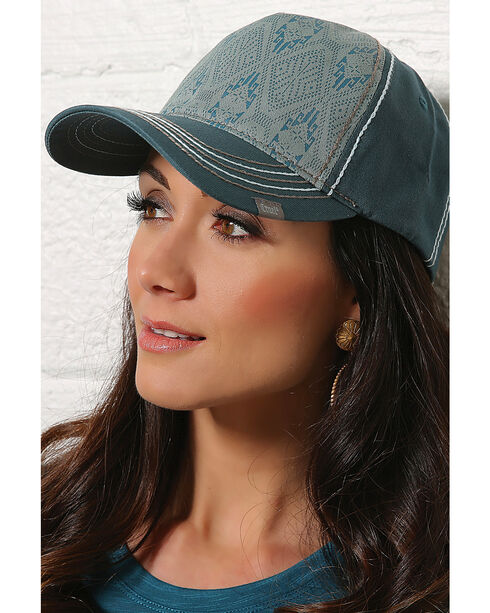 Cruel Girl Women's Teal Aztec Baseball Cap , Teal, hi-res