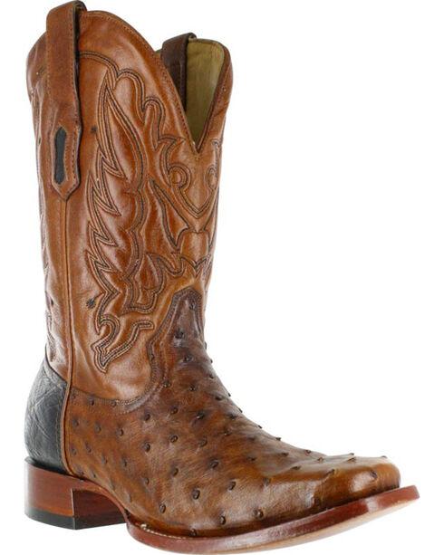 Corral Men's Square Toe Ostrich Western Boots, Cognac, hi-res