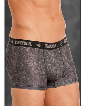 "Rock and Roll Cowboy Men's Grey Paisley 3"" Boxer Briefs , Grey, hi-res"