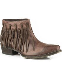 Roper Women's Brown Burnished Leather Fringe Western Boots - Snip Toe, , hi-res