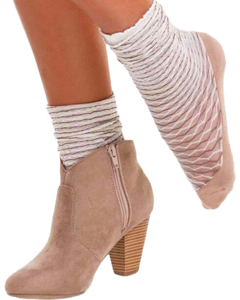 Bootights Women's Cream Honeycomb Trouser Socks , Cream, hi-res