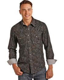 Rock & Roll Cowboy Men's Grey Paisley Print Shirt , , hi-res