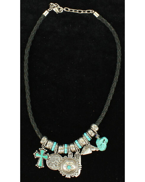 Blazin Roxx Turquoise Charm Necklace, Black, hi-res