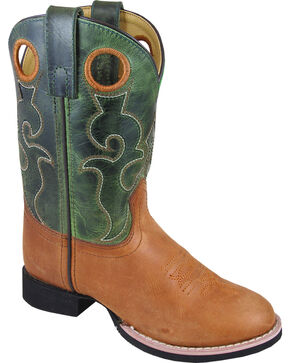 Smoky Mountain Boys' Rick Western Boots - Round Toe , Brown, hi-res