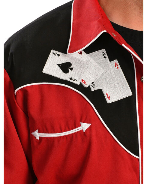 Scully Men's Poker Embroidered Retro Western Shirt, , hi-res