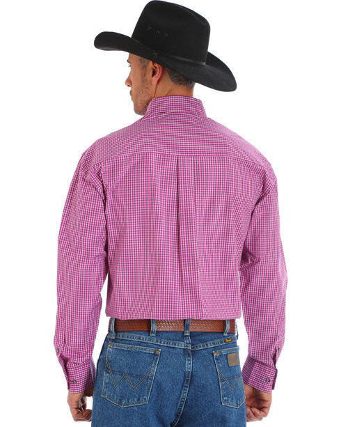Wrangler George Strait Men's Plaid Button Down Shirt - Big & Tall, Magenta, hi-res