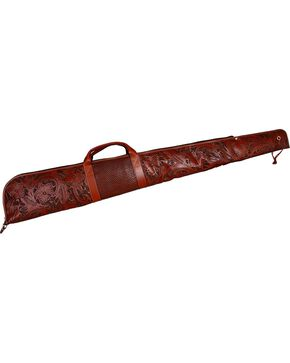 3D Tan Floral Tooled Leather Gun Case, Tan, hi-res