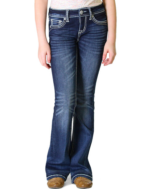 Grace in LA Girls' Dark Wash Fancy Flap Pocket Bootcut Jeans (4-6X), Indigo, hi-res