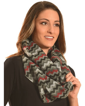 Rapti Fashion Grey and Red ZigZag Stripe Cashmere Scarf, Grey, hi-res