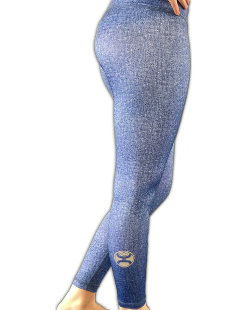Hooey Women's Blue Denim Yoga Leggings, Blue, hi-res