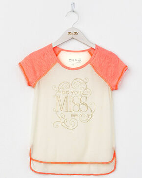 Miss Me Girls' Do You Miss Me T-Shirt, Coral, hi-res