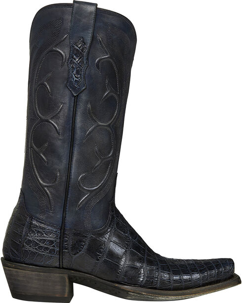 Lucchese Dark Grey Van Giant Gator Cowboy Boots - Square Toe  , Dark Grey, hi-res