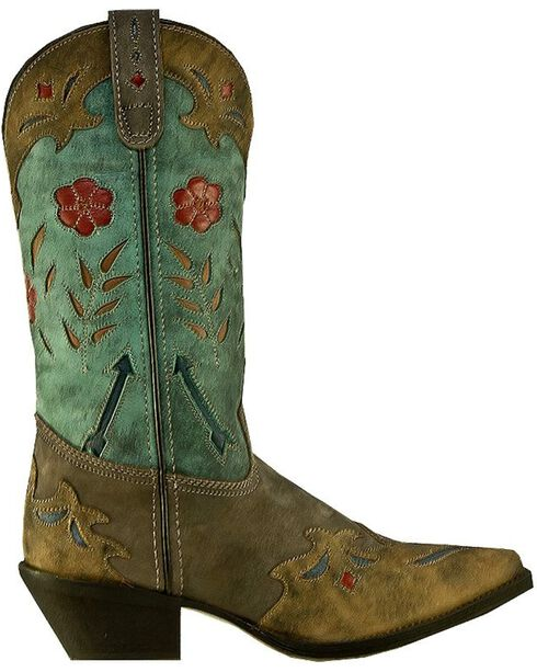 Laredo Women's Floral Western Boots, Brown, hi-res