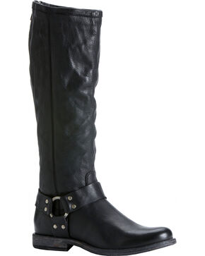 Frye Women's Phillip Harness Riding Boots - Round Toe, Black, hi-res