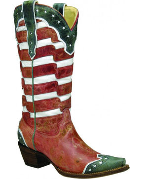 Corral Women's USA Snip Toe Western Boots, Multi, hi-res