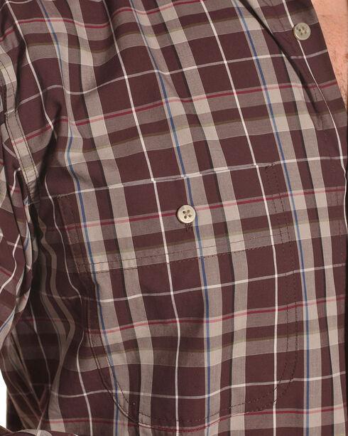 Wrangler Men's Burgundy Rugged Wear Wrinkle Resistant Plaid Shirt - Big & Tall , Burgundy, hi-res