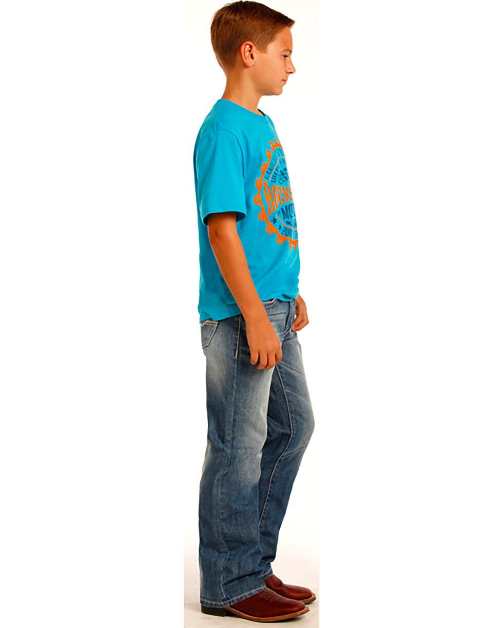 "Rock & Roll Cowboy Boys' ""A"" Embroidery Running Stitch Jeans - Boot Cut, Indigo, hi-res"
