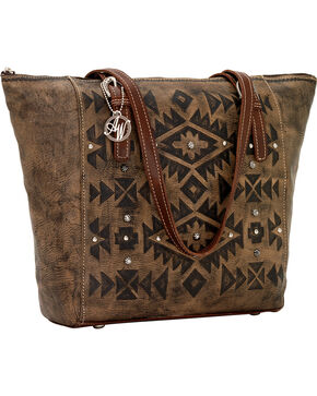 American West Leather Mystic Shadow Bucket Tote, Dark Brown, hi-res