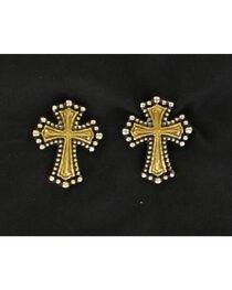Lightning Ridge Gold Tone Beaded Edge Cross Earrings, , hi-res