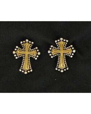 Lightning Ridge Gold Tone Beaded Edge Cross Earrings, Multi, hi-res