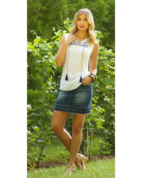 Wrangler Women's Ivory Sleeveless Swiss Dot Top , Ivory, hi-res