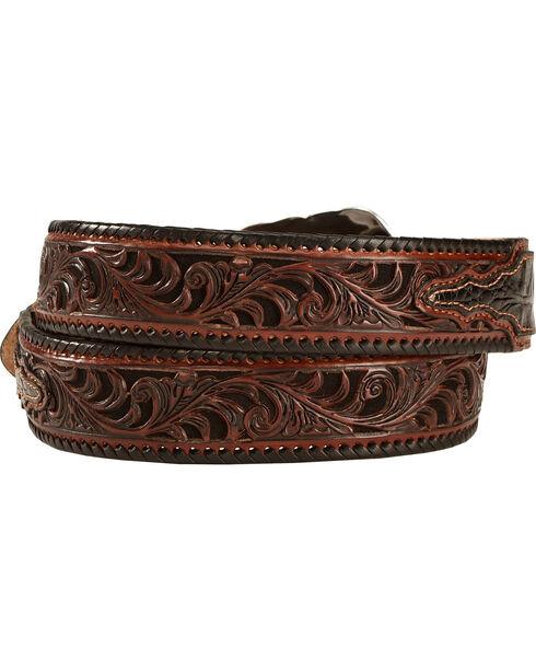 Tony Lama Tooled Caiman Print Leather Belt - Reg & Big, Black, hi-res