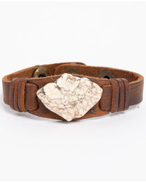 Jewelry Junkie Women's White Turquoise Chunk Leather Cuff , , hi-res
