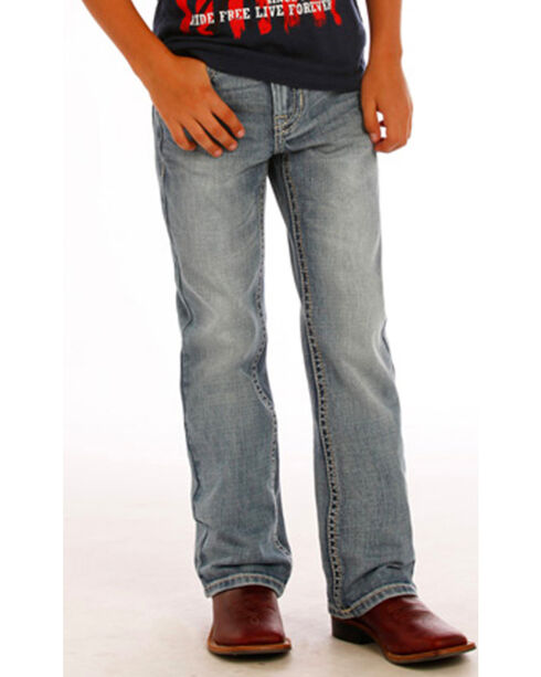 Rock & Roll Cowboy Boys' Blue Abstract Jeans - Boot Cut, Blue, hi-res