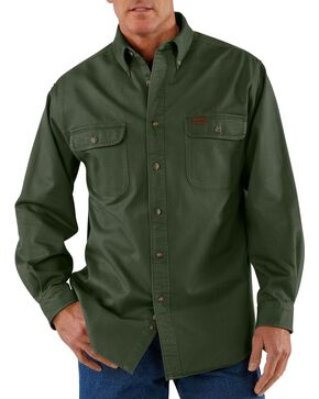 Carhartt Men's Sandstone Twill Regular Work Shirt, Moss, hi-res