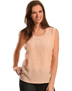 Ariat Women's Abbott Sleeveless Top, Peach, hi-res